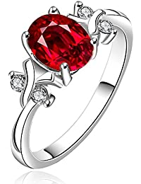 Yellow Chimes Red Diana Austrian Crystal 925 Silver Plated Ring for Women and Girls