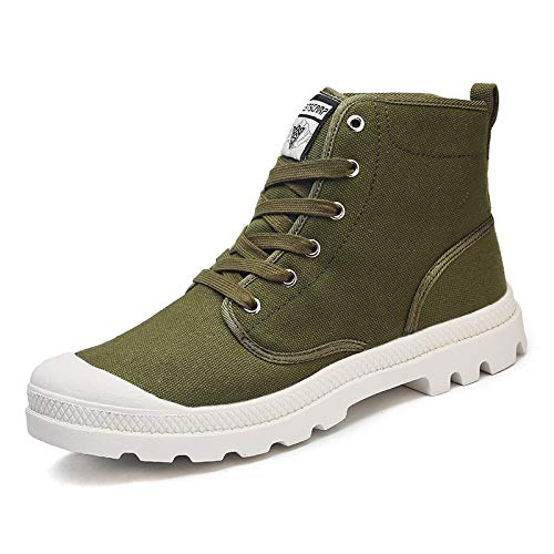HOTSTREE Spring Summer Comfortable Casual Shoes Mens Canvas Shoes for Men Lace-Up Gao Bang Shoes Men Large Green 7 Lace-up-bay