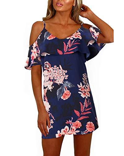 YOINS Sommerkleid Damen Sexy Tshirt Kleid Schulterfrei Tunika Kurzarm MiniKleid Strandkleid Blumenmuster (Schulterfrei-dunkelblau, EU48)