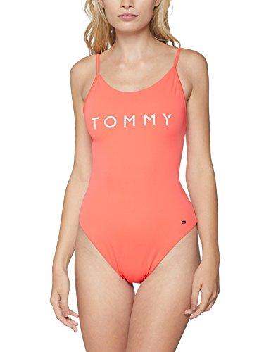 Tommy Hilfiger Damen ONE-Piece Badeanzug, Rosa (Dubarry Red 656), 36 (Herstellergröße: S)