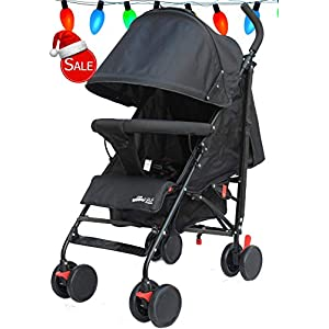 Stroller for Kids Lightweight Buggy Easy Fold Travel Stroller Buggy Foldable for Airplane Travel Cabin Size(Black)   13
