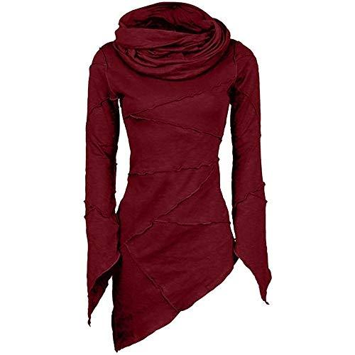 (ESAILQ Frauen dünner Fester Rollkragenpullover Schalkragen Asymmetrische Ärmel Skew Saum Tops Bluse(Small,Wein))