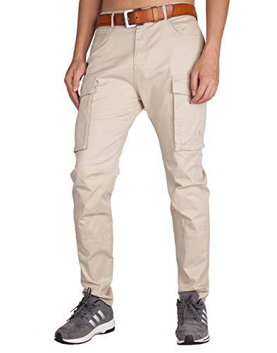 Italy Morn Chino Cargo Pantaloni Beige Tapered Skinny Sportivo Uomo (40, Crema Cachi)