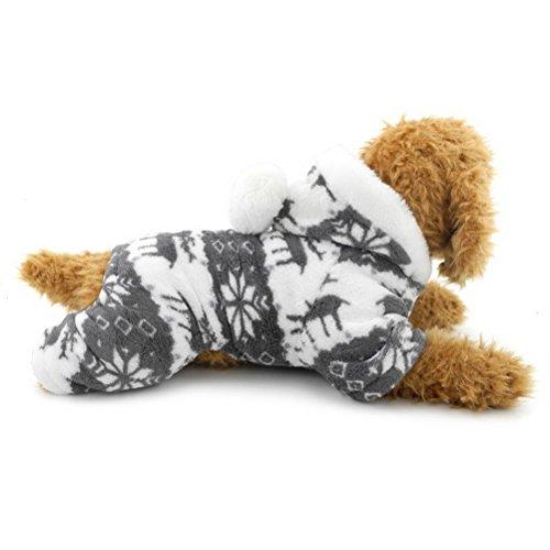 ZUNEA Rentier Haustier Jumpsuit Samt Weiche Warme Welpen Pyjamas Pullover Jumper Mit Kapuze Kleinen Hund Katze Winter Kleidung Outfits Grau M (Kapitän Mesh)