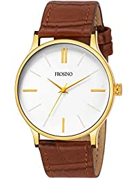 Frosino FRAC101843 Brown Strap with White dial Analog Watch for Boys and Men