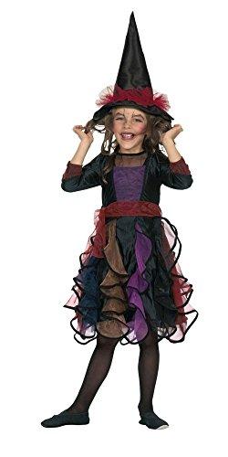 Hexenkostüm schwarz für Mädchen | Größe 140 | 2-teiliges Hexe Kostüm mit Hut | Böse Magierin Faschingskostüm für Kinder | Zauberin Verkleidung (Böse Hexe Kostüm Kinder)
