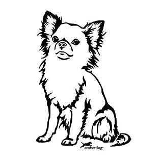 amberdog Chihuahua Langhaar Art.Nr.AT0131 Aufkleber für Auto Wohnmobil Wohnwagen Autoaufkleber (20x15cm, schwarz)