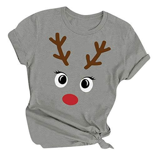 LILICAT Donne Natale Manica Corta Camicia Renna Stampa Maglia Christmas Saltatore Moda Tumblr Crop Tops Taglie Forti Girocollo Maglione Donna Felpe(C Grigio,4XL)