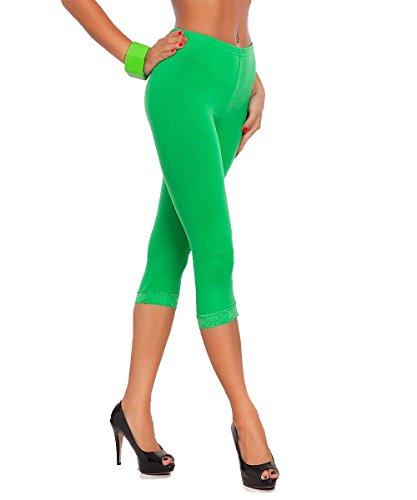 Frauen geerntet 3/4 Länge Viskose Leggings Damen Leggings mit Spitze Grün