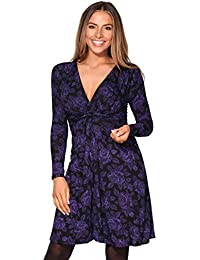 KRISP® Women Ruched Knot Front Long Sleeve V Neck Casual Party Dress