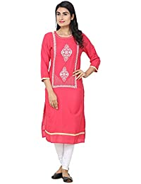 Stylish White Embroidery On Pink Fabric Kurti For Girls By Ketsaal Retails