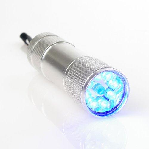 uv-lampe-aluminium-9-led-365-380nm-ohne-batterien-fur-uv-stempelfarbe-uv-leuchtfarbe-schwarzlichtfar