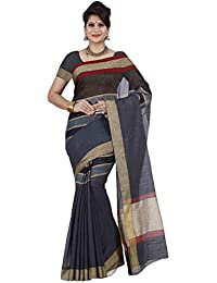 Mimosa By Kupinda Women's Cotton Saree Banarasi Style Color :Black (3402-NSM-2-BLK)
