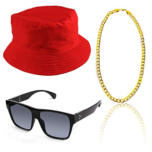 Beelittle 3pcs 80er / 90er Jahre Hip Hop Kostüm Kit Old Style Coole Rapper Outfits - Bucket Hat übergroße Schwarze Sonnenbrille Gold Plated Chain (C) (Kostüm Nerdy)
