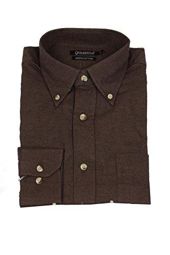 Uvaspina camicia in flanella tinta unita marrone, l-41/42