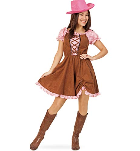 KarnevalsTeufel Damenkostüm Country Lady 1-teilig Kleid in braun-rosa Squaredance Western Cowgirl Karneval Fasching Gr. 36 - 42 (38) (Country Western Kostüm)