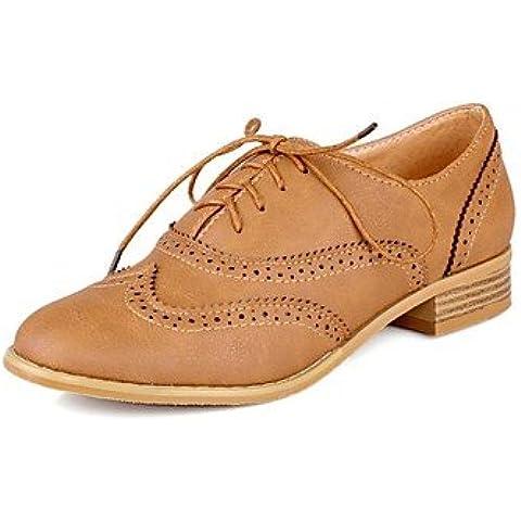 Scarpe da donna in pelle tacco Chunky Round Toe Oxfords con Pizzo-up più casual colori disponibili , Beige-US6.5-7 / EU37 / UK4,5-5 / CN37 , Beige-US6.5-7 / EU37 / UK4,5-5 / CN37