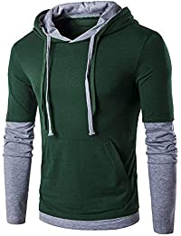 BUSIM Men's Long Sleeve Sweater Autumn Solid Color Drawstring Fashion Slim Pullover Fake Two-piece Hooded Sweatshirt...