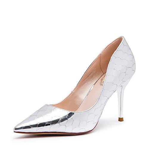 Signora estate coreano appuntito lucido argento tacchi alti/Asakuchi scarpe a spillo-B Lunghezza piede=23.3CM(9.2Inch)