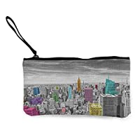 "TTmom Women Canvas Coin Purse,New York NYC Cityscape Monochrome Photograph with Colorful Buildings Urban Architecture Wallet Coin Purses Clutch W 8.5""x L 4.5"" Multicolor"