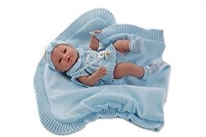 Berbesa - Muñeco bebé recién Nacido con toquilla Azul, 42 cm ( 5100A )