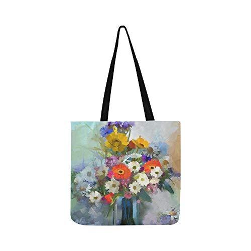 nnenblume Gerbera Daisy Blumen Leinwand Tote Handtasche Schultertasche Crossbody Taschen Geldbörsen für Männer Und Frauen Einkaufstasche ()