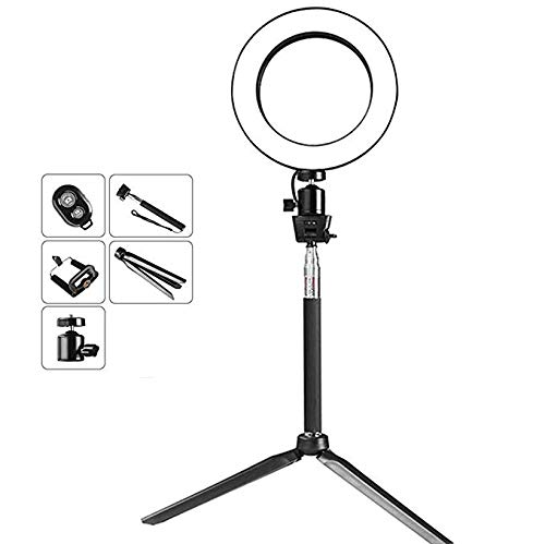 Mini Photo Studio LED Fotocamera Anello Luce dimmerabile Telefono Video Lampada con treppiede Selfie Stick riempire la Luce per l'illuminazione del Trucco dal Vivo,Black