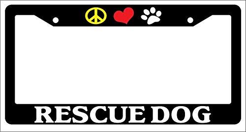 Superlicenseframe Kennzeichenrahmen Aluminium Metall Kennzeichenabdeckung Chrom Kennzeichenhalter, Peace Love Paw Rescue Dog (Adler Kennzeichenhalter)