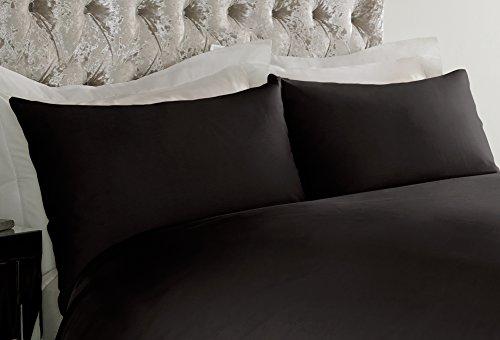 2 taies d'oreiller de luxe en percale sans repassage, 50 % coton, 50 % polyester, Noir , 50 x 70 cm