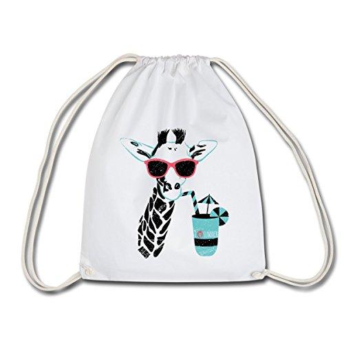 Spreadshirt Animal Planet Giraffe Mit Sonnenbrille Sommer Turnbeutel, Weiß
