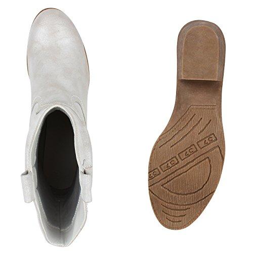 Damen Stiefel Stiefeletten Absatz Boots Cowboy Boots in mehreren Farben 36 -41 Grau