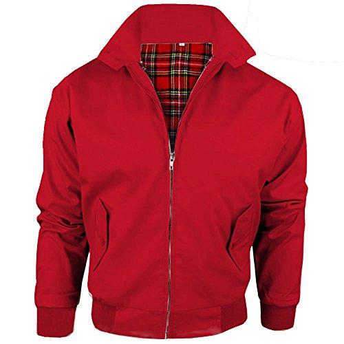 Harrington-Jacke mit kariertem Futter, gefertigt in Großbritannien, Herren, mit Reißverschluss, klassische Bomberjacke Gr. Small, rot