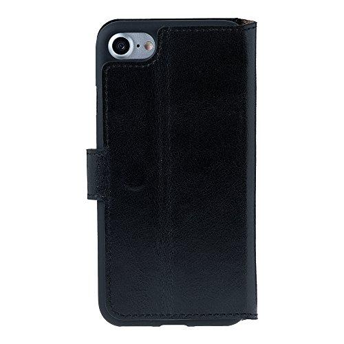 iPhone 7Leder Case Cover–Wallet Case Antic Coffee Rustic Black
