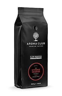 Aroma Club Coffee Beans 1 kg - Dark Roast Strong George - Brazilian Coffee - Slow Roast & CO2 Neutral from Aroma Club