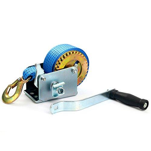 FreeTec Torno de correa de manivela Fuerza de tracción de la mano cabrestante,6 M mano Cabestrante 270 kg (600lbs)
