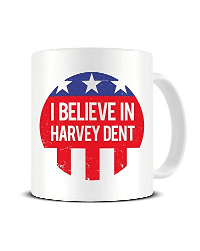 Funky NE Ltd Keramik-Kaffeebecher mit Aufschrift I Believe in Harvey Dent – Gotham District Attorney Campaign – The Dark Knight – Keramik-Kaffeebecher – tolle Geschenkidee