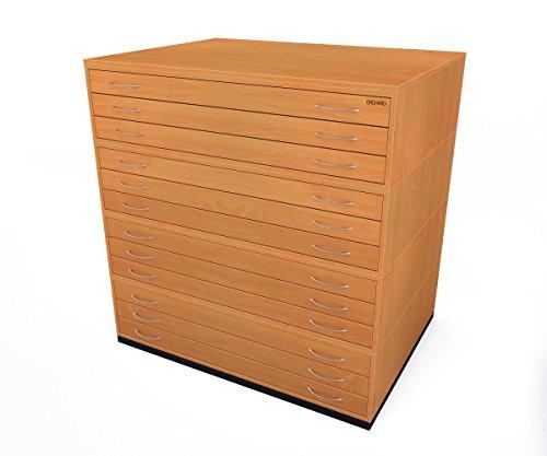 Buche Brust Schubladen (Traditionelles A012Schubladen Plan Buche Papier Schrank mit zwölf Tiefe Schubladen halten Papier der A0)