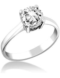 Miore Damen-Ring 9 Karat Weißgold Solitär Diamantrin Rundschliff 1.0ct G-H/I1 MD100GHW