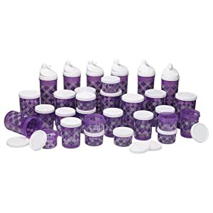 Prime Housewares 30 Pcs Round Designer Containers with 6 Water Bottles - Translucent Purple Color (9061_Pu)