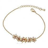 Women Fashion Anklets Link Anklet Bracelets Girl Alloy Crystal Champagne Gold Plated Golden White Clear Flower