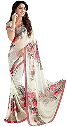 Clothfab Georgette Saree With Blouse Piece (White_Free Size)