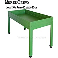 MESA DE CULTIVO Lacada verde. Medidas: Largo 150cm x Ancho 75cm x Alto 85cm