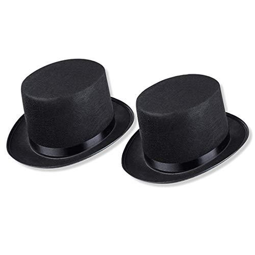 Schramm® 2 Stück Zylinder Hut mit Satinband Schwarz für Erwachsene Chapeau Zylinderhut