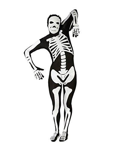 Morphsuit Skelett Halloween Ganzkörperanzug schwarz weiss XL