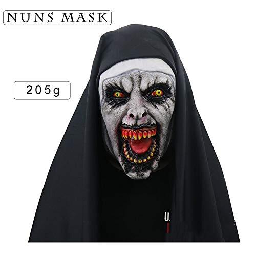Nonnenmaske Halloween erschrocken weiblichen Geist Tiara Horror Maske Kostüm beängstigend Latexmaske Kopftuch, weibliches Gesicht, Gesamtausstattung,Zhangkou (Gute Kostüm Beängstigend)