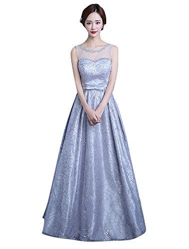 Beauty-Emily Maxi una línea de Ver a través de Escote corazón Vestidos de graduación de imitación de Encaje de Dama de Honor de Color Gris, tamaño EU46
