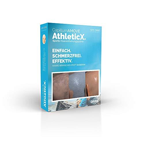 Capillum AMOVE AthleticX [Geruchlos] 300g - Schmerzfreies Dusch Haarentfernungcreme Pulver mit pflegender Weizenstärke für extra weiche Haut (Körper & Intimbereich)