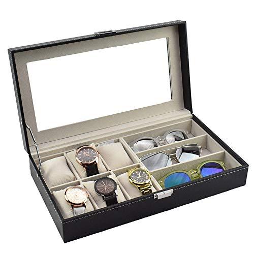 uliaadela 6 + 3 Uhrenbox Holz Uhren Brillenetui Sonnenbrillen Aufbewahrungsbox PU Uhrenbox