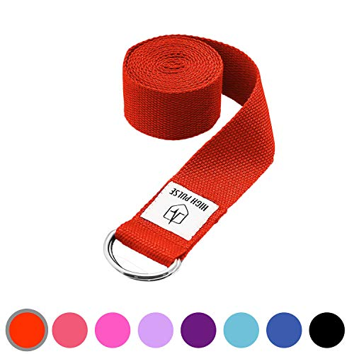 High Pulse® Yogagurt (183 x 3,8 cm) - Hochwertiger Yoga Gurt mit Verschluss als praktisches Hilfsmittel beim Yoga oder Pilates - 100{f1fd2ad66aaf1a2caaaffb4261c2c4199950395b86657b6bf08e2d96636621d2} Baumwolle (rot)