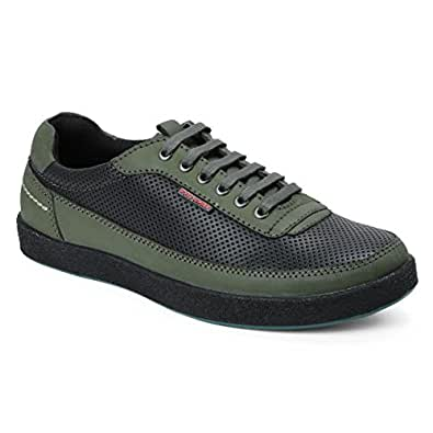 Red Chief Men's Olive/Green Leather Boat Shoes - 10 UK/India (44 EU)(RC3484 014)